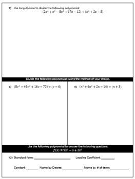 Operations with Polynomial Test (Algebra II Unit 2)