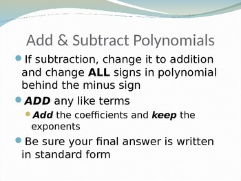 Operations with Polynomials