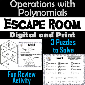 Operations with Polynomials Activity: Algebra Escape Room Math