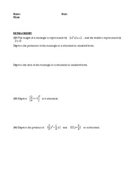 Operations with Polynomials Quiz