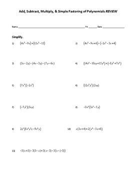 Operations with Polynomials Review