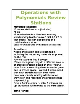Operations with Polynomials Review Stations