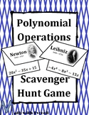 Operations with Polynomials Scavenger Hunt Game