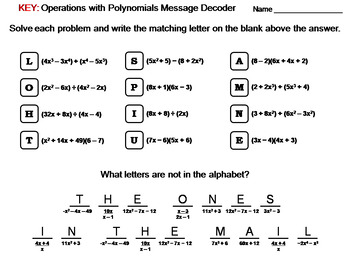 Operations with Polynomials Worksheet: Math Message Decoder