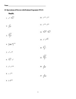 Operations of Powers with Rational Exponents