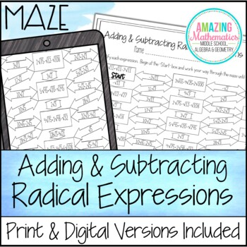 operations with radical expressions maze adding subtracting tpt. Black Bedroom Furniture Sets. Home Design Ideas