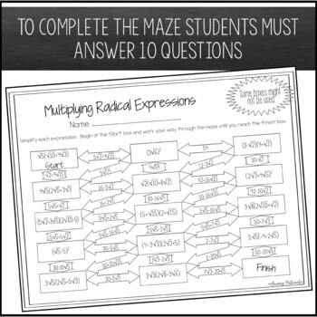 Operations With Radical Expressions Maze Multiplying By Amazing