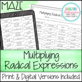 Operations with Radical Expressions Maze - Multiplying Worksheet