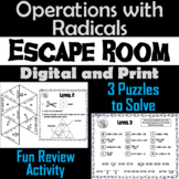 Operations with Radicals Game: Escape Room Math Activity