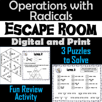 Operations with Radicals Game: Algebra Escape Room Math Activity