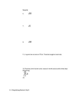 Operations with Radicals Notes