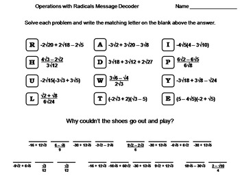 Operations with Radicals Worksheet: Math Message Decoder