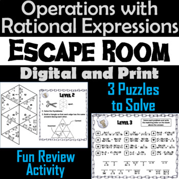 Operations with Rational Expressions Game: Algebra Escape Room Math Activity