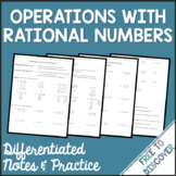 Operations with Rational Numbers Notes and Practice (Diffe