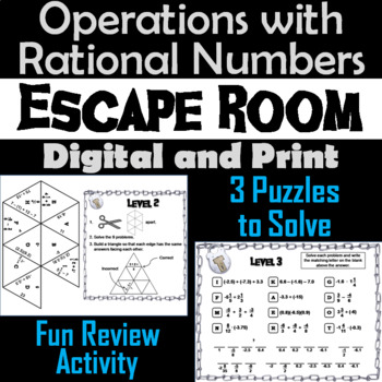 Operations with Rational Numbers Activity: Escape Room Math Game