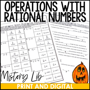 Operations with Rational Numbers Halloween Mistory Lib