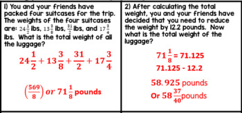 Operations with Rational Numbers - Road Trip Application