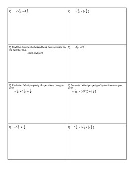 Operations with Rational Numbers Solve and Check