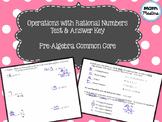 Operations with Rational Numbers Test & Answer Key