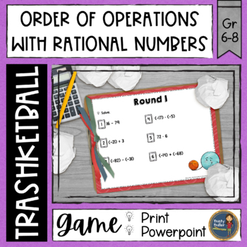 Operations with Rational Numbers Trashketball Math Game