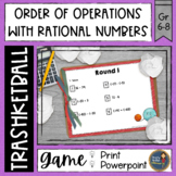 Rational Numbers Order of Operations Trashketball Math Game