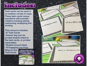 Operations with Scientific Notation Activities