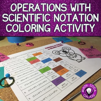 Operations with Scientific Notation Activity (Coloring Page)