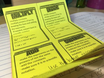 Operations with Scientific Notation Foldable for 8th Grade Interactive Notebook