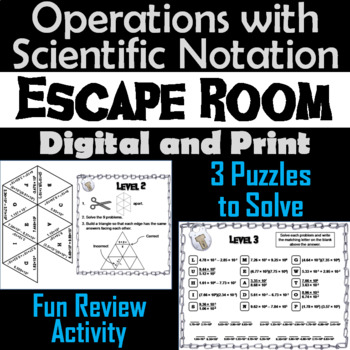 Operations with Scientific Notation Game: Algebra Escape Room Math Activity