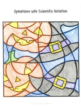 Halloween Math Operations with Scientific Notation Coloring By Number