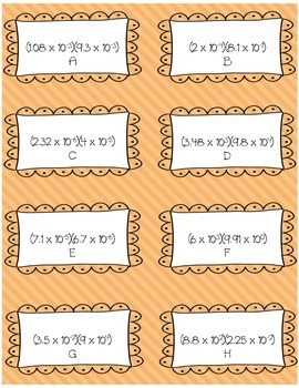 Operations with Scientific Notation Matching or Task Cards