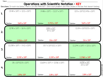 Operations with Scientific Notation Odd Man Out