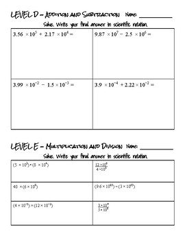 Operations with Scientific Notation- Scaffolded Practice