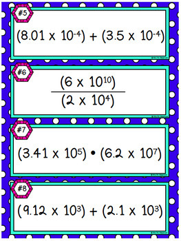 Operations with Scientific Notation Task Cards