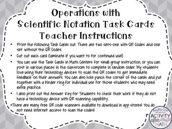 Operations with Scientific Notation Task Cards with QR Codes