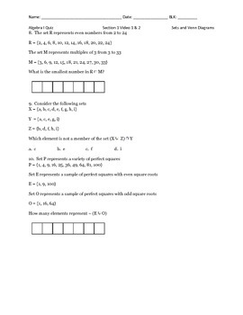Operations with Sets Quiz