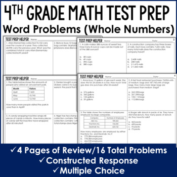 Operations with Whole Numbers Word Problems {4th Grade Common Core Test Prep}