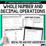 Operations with Whole Numbers and Decimals 6th Grade Inter
