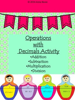 Operations with decimals addition subtraction division mul