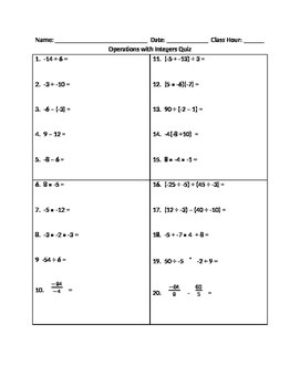 Operations with integers quiz
