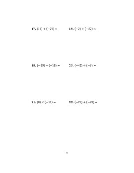 Operations with positive and negative numbers worksheet (with answers)