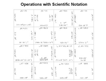 Operations with scientific notation square puzzle activity