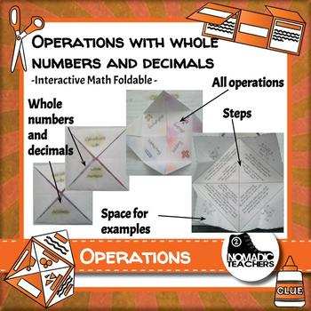 Operations with whole numbers and decimals interactive notebook math foldable