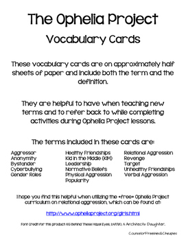 Ophelia Project (Relational Aggression) Vocabulary Cards