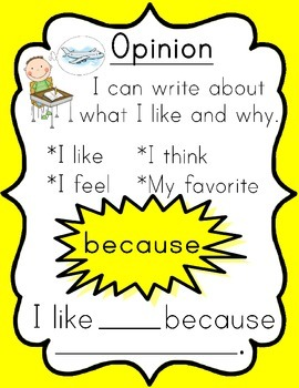 Opinion Anchor Chart & Writing Prompts