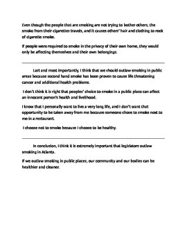 Opinion/ Argumentative Writing- Outlaw Smoking in Public