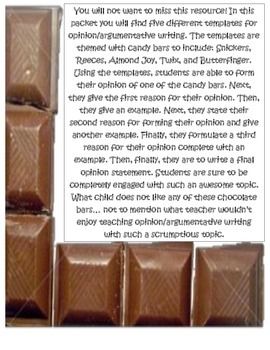 Opinion ~ Argumentative Writing with Chocolate Candy Bars!