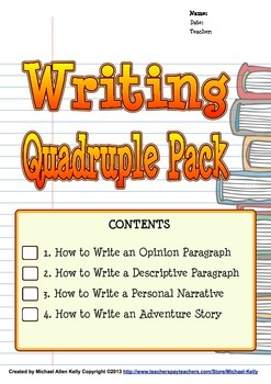 How to Write Bundle (Opinion, Descriptive, Personal Narrative, Adventure Story)