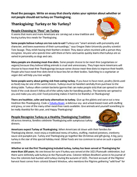 Opinion Essay 3rd Turkey for Thanksgiving?