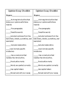 Opinion Essay Checklist